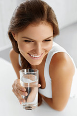 Health, Beauty, Diet Concept. Woman Drinking Water. Drinks. Water.
