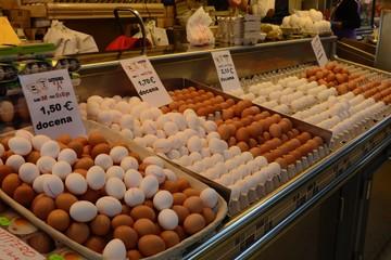 Eggs on display in Indoor Market, Valencia, Spain