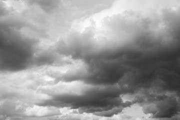 Thunderclouds over horizon, gray, dark. Cloudy sky background.
