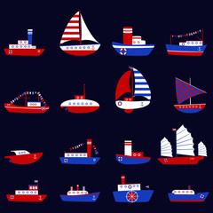 Vector cute ship set for baby thing