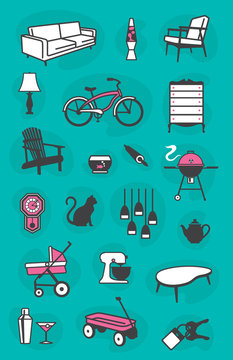 Set of Retro Home Icons of common household items including furniture and fixtures. Fully scalable and editable.