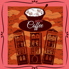 A cup of coffee on the background of architecture, vintage, vector, banner, illustration