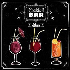Cocktails menu chalked on a blackboard, vintage, vector, banner, illustration