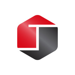 T Red And Grey Hexagonal Letter Logo Vector