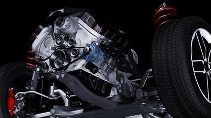 Fahrgestell mit Motor eines PKW