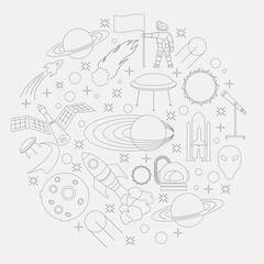 Space, universe graphic design. Linear icon set