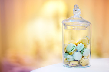 Traditional french macarons in a jar