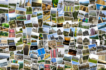 Asymmetrical mosaic mix collage of 200+ photos of different places, landscapes, objects  shot by myself during Europe travels