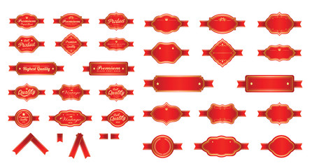 Red luxury premium labels and blank labels