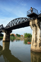 People travel and walking at the Bridge of the River Kwai in Kan