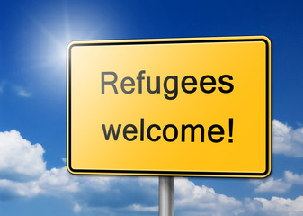 Refugees Welcome Schild