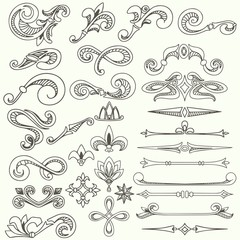 Collection of vintage hand drawn decorative elements and page dividers for design