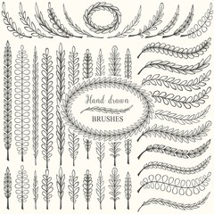 Hand drawn floral pattern borders and floral design elements set. Pattern and art brush templates. Vector illustration.