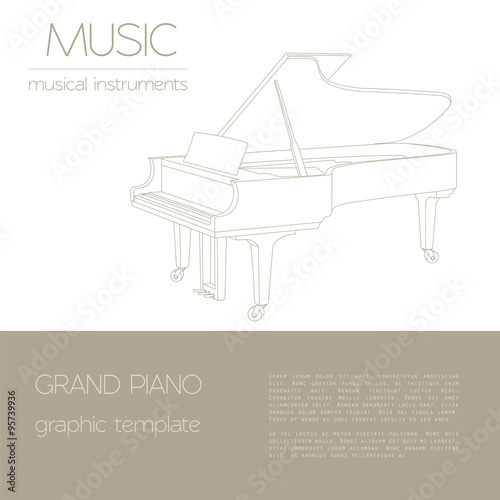 musical instruments graphic template grand piano stock image and