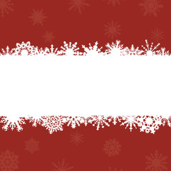 red background with frame for congratulations and snowflakes