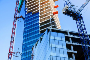 Modern office tower building construction