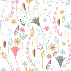 Vector forest design, floral seamless pattern, leaf background. Plants ornament