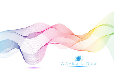 colorful light waves line bright abstract pattern