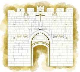 Porta dei Leoni, ingresso, Città vecchia, Gerusalemme, Israele, disegnata a mano