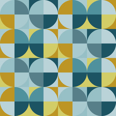 Seamless geometric pattern in circles. Vintage style. For printing on fabric, book design, web.