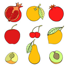 set of different fruits