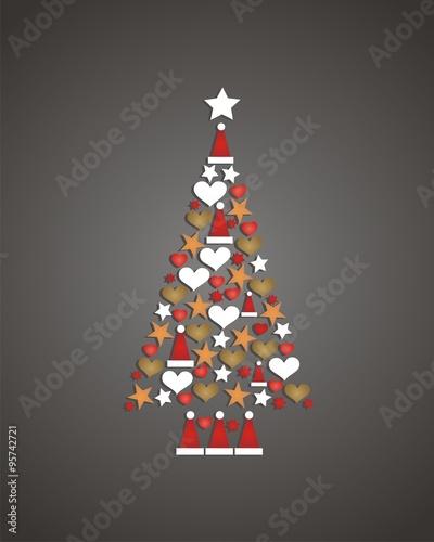 rbol de Navidad hecho de adornos navideos con fondo gris Stock