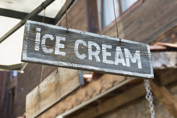ice cream sign. selective focus.
