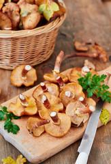 Honey agaric/ Armillaria wild edible mushrooms on wooden background