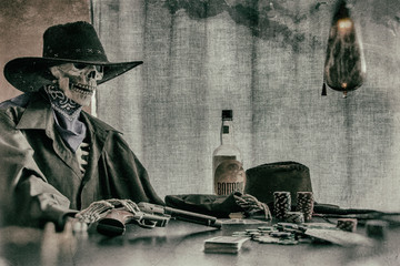 Old West Poker Playing Skeleton Gun. Old west bandit outlaw skeleton at a poker table with a pistol and bourbon, edited in vintage film style.