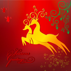 Season greeting card with reindeers stars and ornaments. Vector.