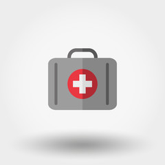 First aid kit. Suitcase first aid. Icon.