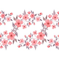 Blossom. Watercolor floral background. Beautiful seamless border 1