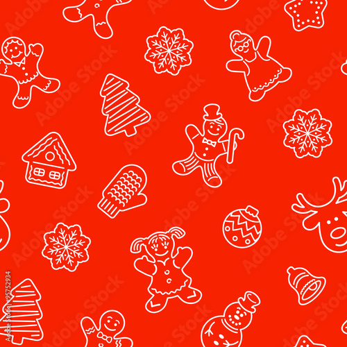 Flat Vector Christmas Background Seamless Pattern With Different Cookies Gingerbread Men Deer Snowflake