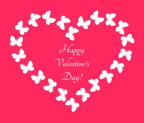 Heart shaped butterfly flight. Romantic frame for valentine card. Vector illustration.