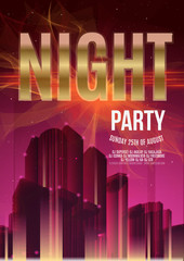 Night Party Purple Vector Flyer Template - EPS10 Design. Polygonal graphic. Abstract urban background