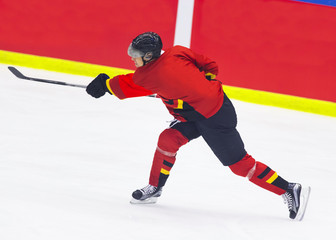 Ice Hockey - Player makes a slap shot