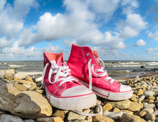 Pink sneakers at sea