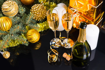 Festive Champagne with Christmas Decorations