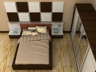 Empty picture frames in classic bedroom interior background on the decorative painted wall with wooden floor. Bed, nightstand, pillow, sheets and blanket. Copy space image. 3d render