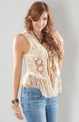 Beautiful Young Woman in Boho Fashion