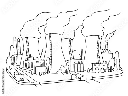 u0026quot industrial sketch of nuclear power station  doodle