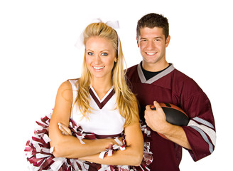 Football: Fan And Cheerleader Couple