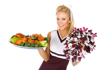 Football: Cheerleader Holding Tray Of Chicken Wings