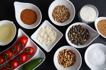 Many seeds salad ingredients
