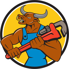Poster Ouest sauvage Minotaur Bull Plumber Wrench Circle Cartoon