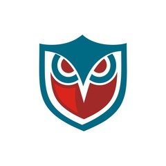 Wall Mural - owl shield blue and red
