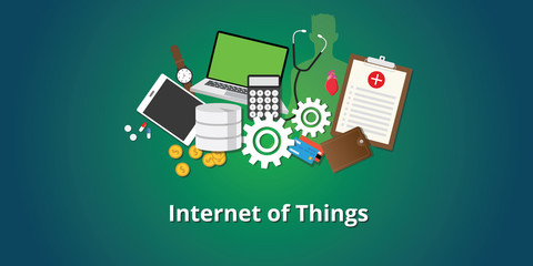 iot internet of things concept with all internet stuff collection