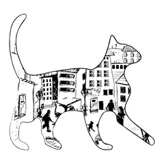silhouette of a cat with night town and stars on a white background. moonlight, bright colors, vector illustration