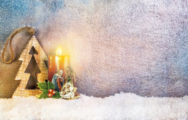 Nativity under Snow - Merry Christmas