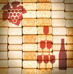 Wine  vector icons on corks background